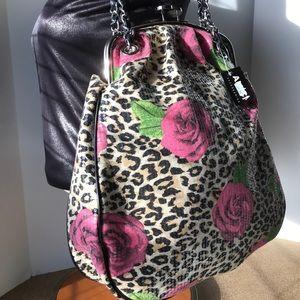 Large Amici Sequin Rose Leopard Shoulder Bag Silvr